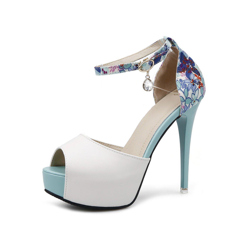 KPHY Zapatos de Mujer/Verano Super Belleza Zapatos De Tacon Alto 12Cm Impermeable Mesa con Flores Rotas Hebilla Color Sandalias Boca De Pescado.Treinta Y Cinco Azul Thirty-five|blue