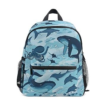 0765e8269e6e TIZORAX Marine Shark Whale Octopus Dolphin Jellyfish Lightweight Travel  School Backpack for Boys Girls Kids