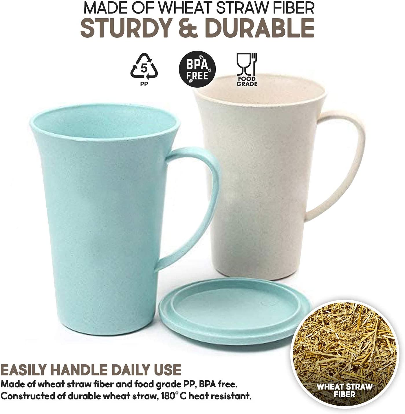 Sturdy and Durable Water Set of 6 Milk Tea 15.5 OZ Shopwithgreen Large Unbreakable Lightweight Mugs for Coffee Juice