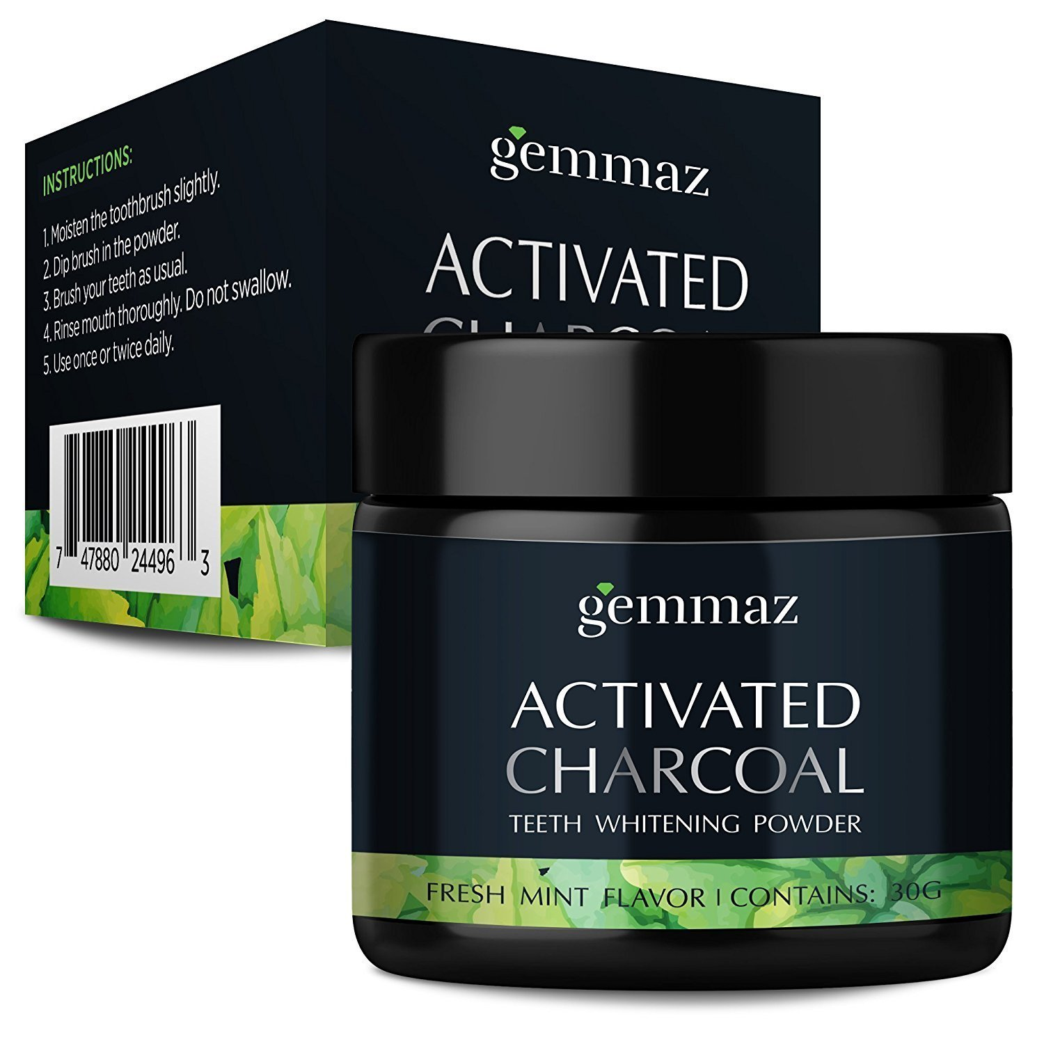 Natural Teeth Whitening Powder - Made in USA with Coconut Activated Charcoal and Food Grade Formula - Candy Cane Mint Flavor (30g)