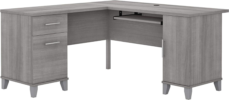 Bush Furniture Somerset L Shaped Desk with Storage, 60W, Platinum Gray