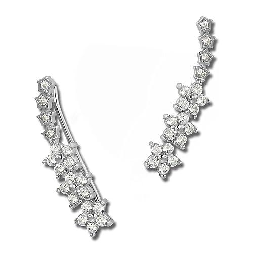 brillo de color nuevo producto diseño novedoso Pendiente SilberDream trepadores con flores, de plata de ley 925, para mujer
