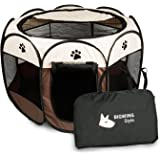 BIGWING Style Pet Play Pen Portable Foldable Puppy Dog Pet Cat Rabbit Guinea Pig Fabric Playpen Crate Cage Kennel Tent Coffee L