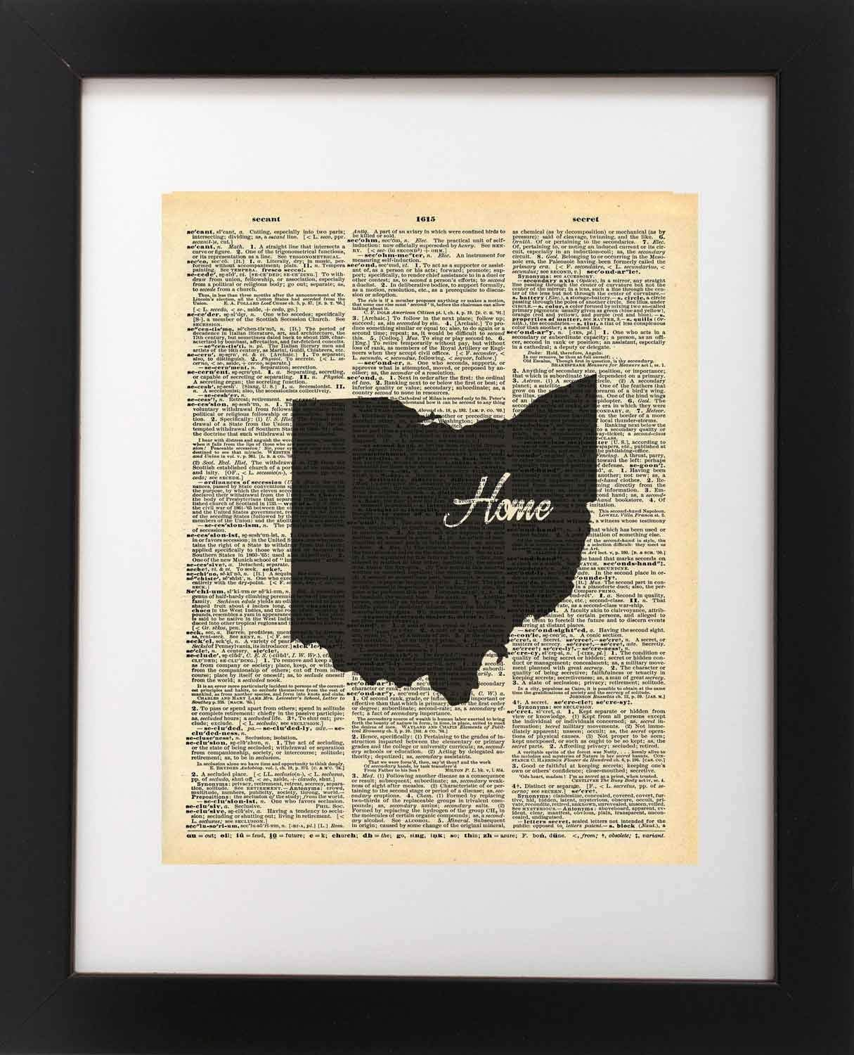 Ohio State Vintage Map Vintage Dictionary Print 8x10 inch Home Vintage Art Abstract Prints Wall Art for Home Decor Wall Decorations For Living Room Bedroom Office Ready-to-Frame Home