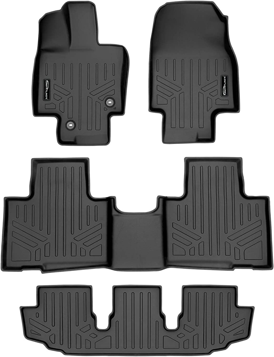 SMARTLINER Floor Mats 3 Row Liner Set Black for 2020-2021 Highlander Fits W// 2nd Row Bench or Bucket Seats w//Center Console