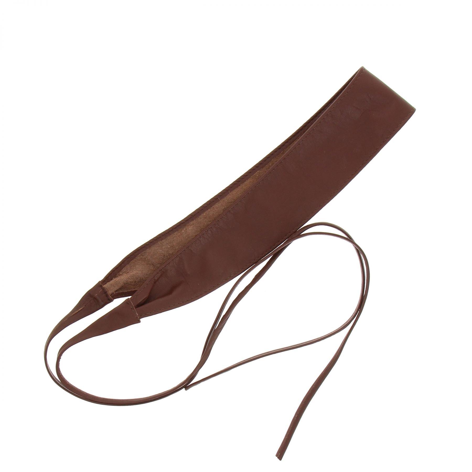 FASHIONGEN - Woman Italian leather Obi belt, CASSIANE - Brown, L-XL