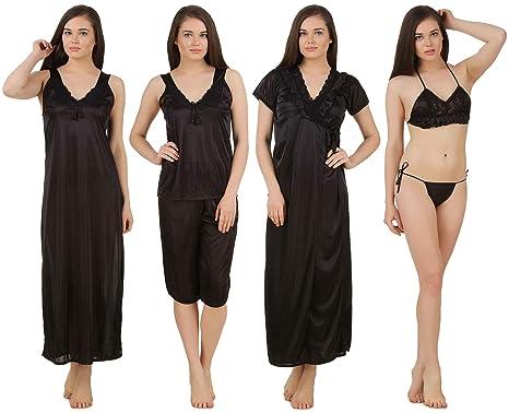 Fasense Women s Satin Nightwear - Pack of 6  Amazon.in  Clothing ... f800b048f