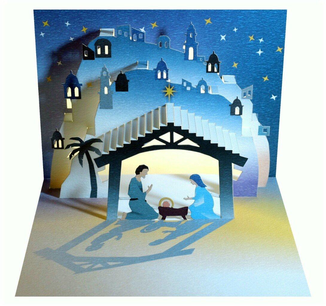 We Pop Up Cartoline 3D natalizie, biglietto d'auguri di Natale, Presepe Gesù 16 x 11 cm. biglietto d'auguri di Natale Forever
