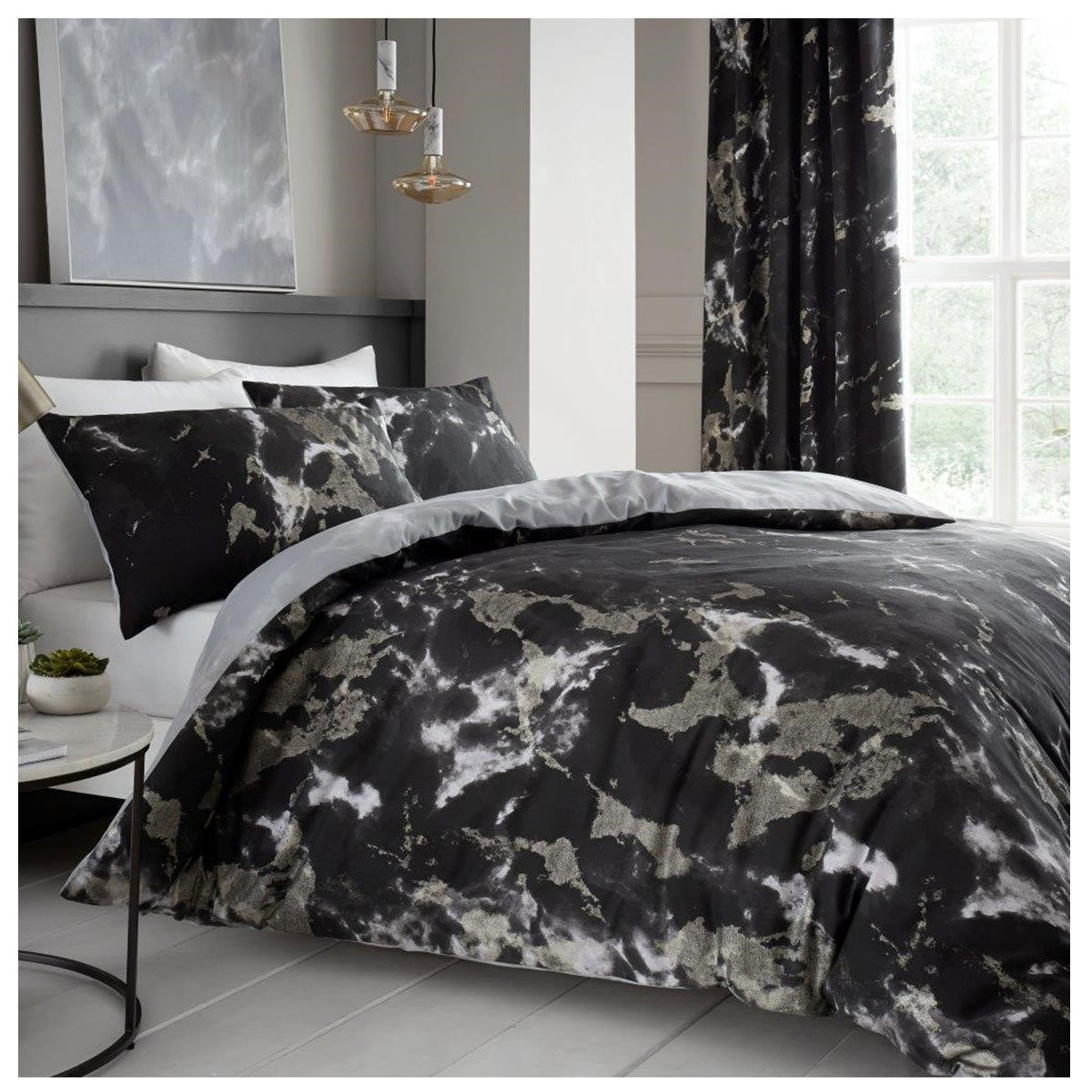 Comfy MARBLE Bed Set with Duvet Cover and Pillow Cases, Polyester-Cotton, Black, Double Gaveno Cavailia 11150732