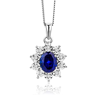 9ct White Gold Sapphire Heart Pendant Necklace and chain Gift Boxed Made in UK