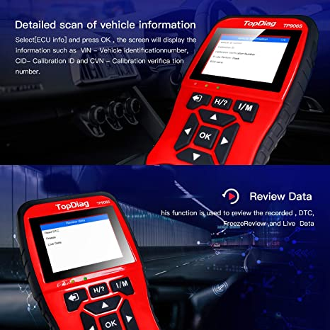 TopDiag TP906S OBD2 Scanner Universal Mode 6 /& 8 Vehicles Engine Diagnostic Tool Enhanced Car Fault Code Reader with Battery Test Automotive Scan Tools with PC Print Data Function