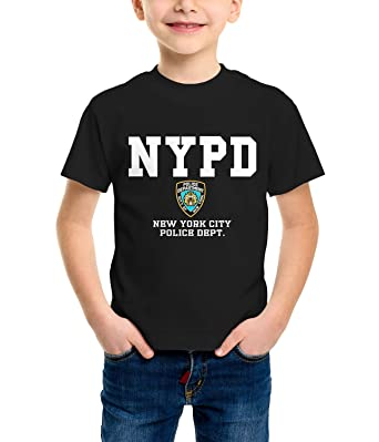 34e3051a NYPD Kids Short Sleeve Round Neck Transfer Print Police Badge On Chest T- Shirt (Black, M / 7 - 8 Years): Amazon.co.uk: Clothing