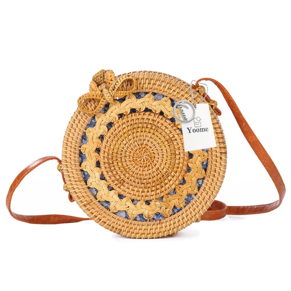 Yoome Handwoven Round Rattan Bag, Casual Shoulder Bag Women Crossbody Straw Bag for Summer, Beach and Daily Life