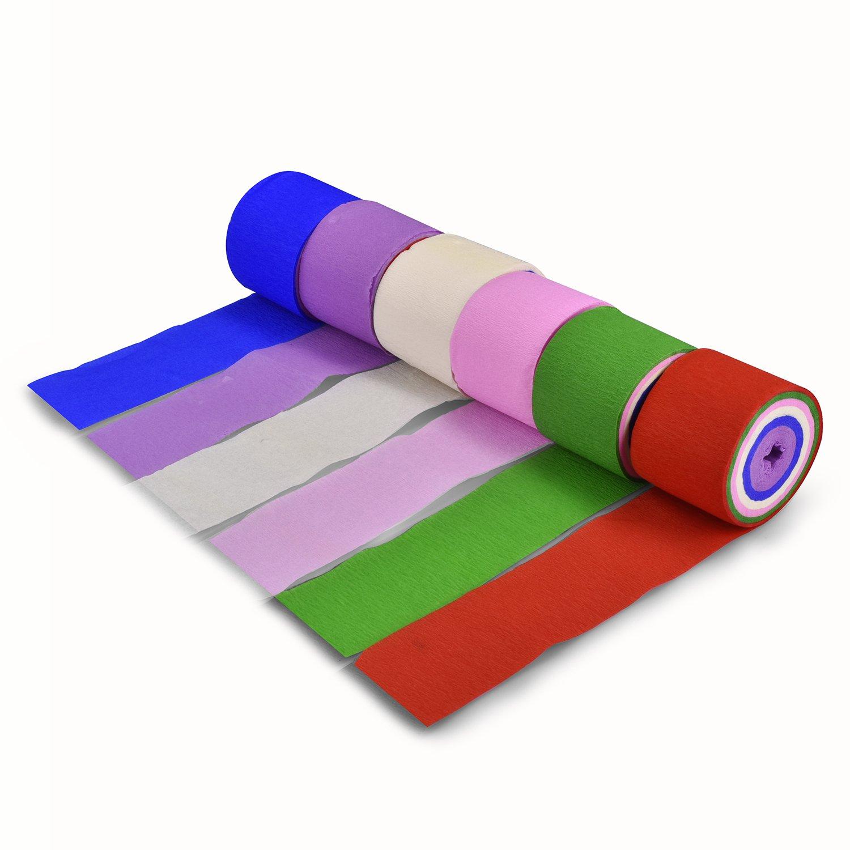 Syndecho 6 Pezzi Carta Crespa Stelle Filanti Crepe Paper per Feste Compleanno Matrimonio 3.2cm*13.5m