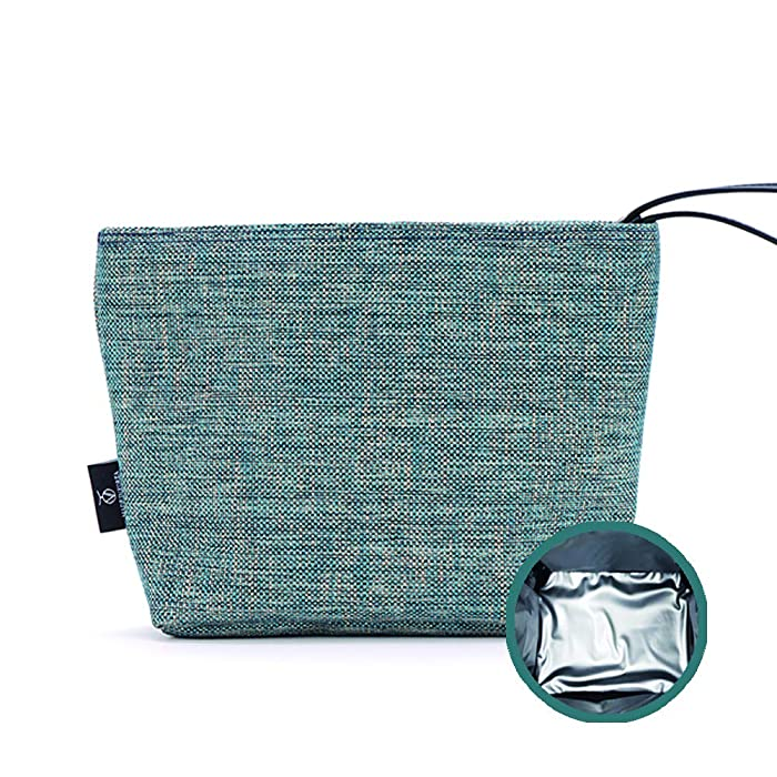 Insulated Reusable Eco Snack bag, Baby Food Pouch, Insulated Lunch Bag, Insulin Cooling Case, golf pouch, Waterproof, School, Work, Picnics, Travel, Men, Woman, Boy, Girl, Kid, Baby(Bluish green)