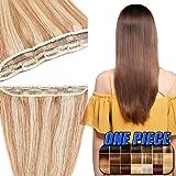 40-55cm Extension Capelli Veri Clip Fascia Unica 5 Clips Larga 25cm - 100% Remy Human Hair Capelli Naturali Lisci, 55cm #12/#613 Marrone Chiaro/Biondo Chiarissimo
