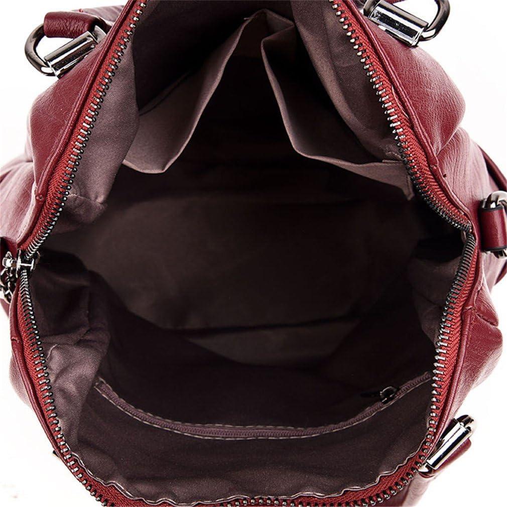 Women Multifunction Backpack Leather Tassel Shoulder Bag Large Capacity Backbag Female Zipper School Bag