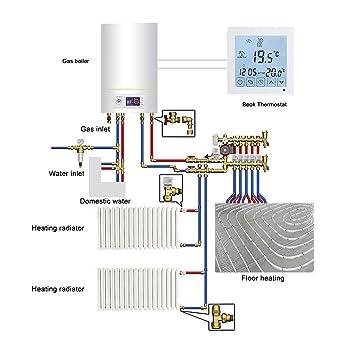 Termostato digital, de la marca Beok, para caldera de gas, con pantalla LCD, color blanco, blanco, 1.50 voltsV: Amazon.es: Bricolaje y herramientas