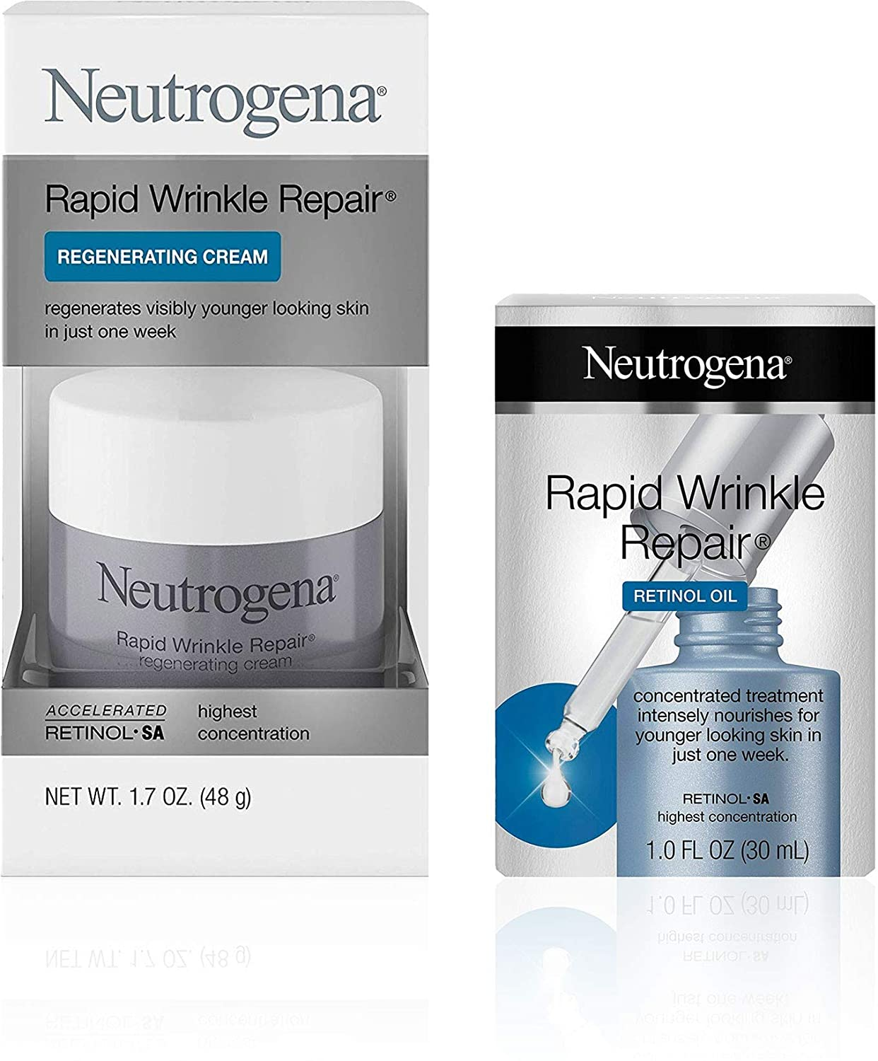 Neutrogena Rapid Wrinkle Repair Face Oil Retinol SA Serum for Face, 1.0 fl. Oz, and Neutrogena Rapid Wrinkle Repair Retinol 1.7 oz 1 ea