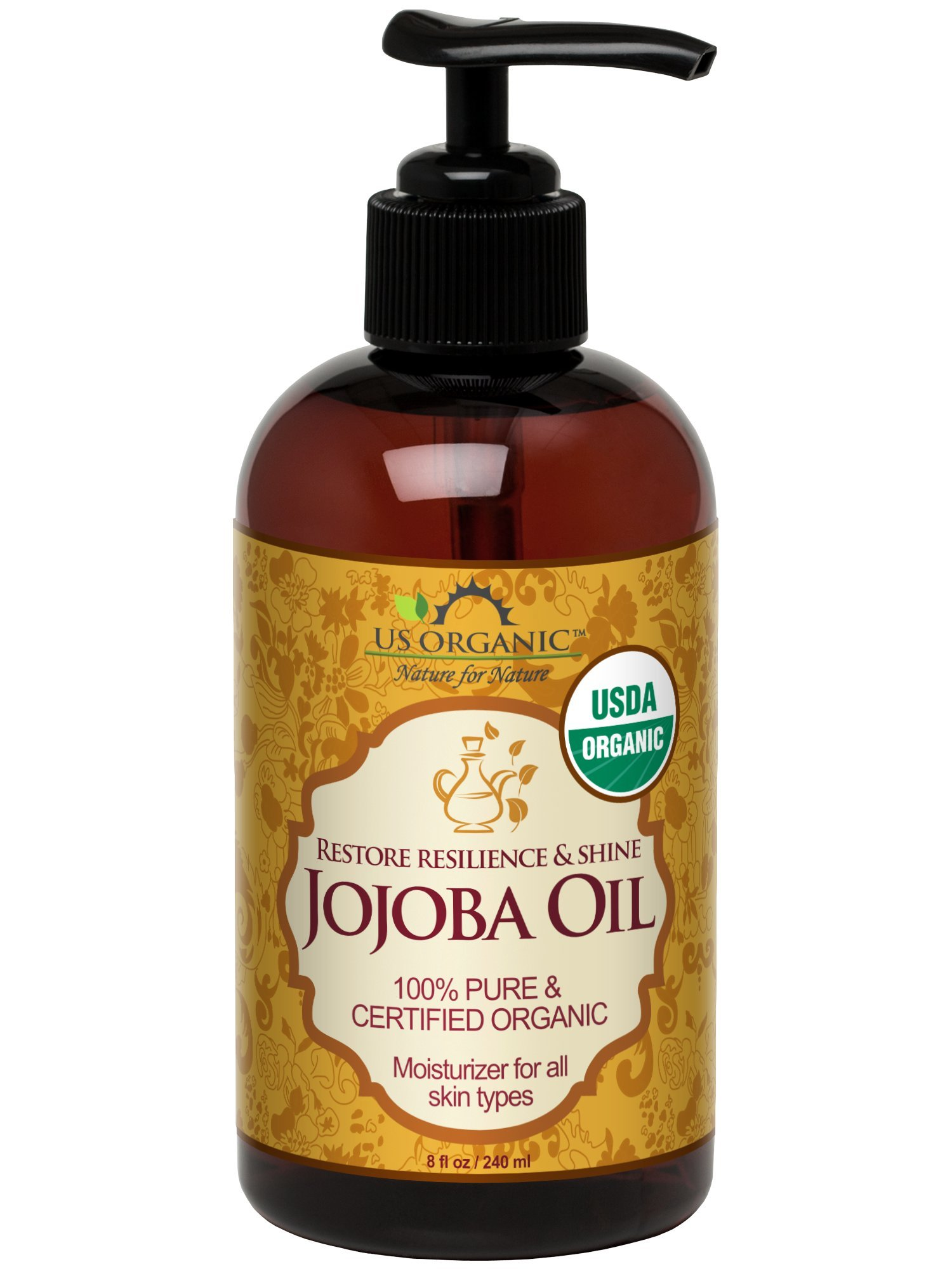US Organic Jojoba Oil, USDA Certified Organic,100% Pure & Natural, Cold Pressed Virgin, Unrefined, Haxane Free, 8 Ounce in Amber Plastic Bottle with Pump for Easy Application