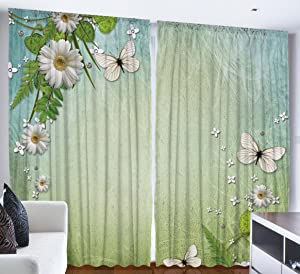 """Ambesonne Spring Curtains, Nature with Flower and Butterflies, Living Room Bedroom Window Drapes 2 Panel Set, 108"""" X 84"""", Teal Blue"""