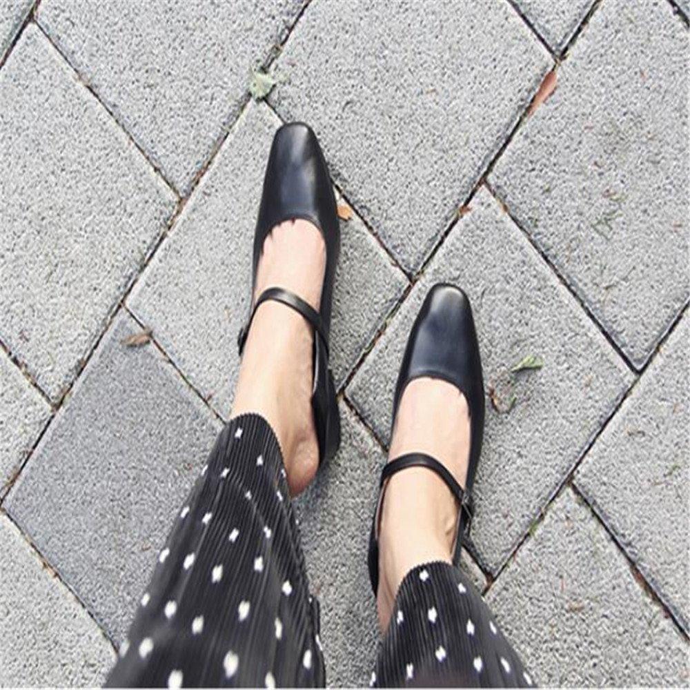 Xue Qiqi Court Schuhe Damenschuhe Wild Hochhackigen Schnalle Einzelne Schuhe Weiblich Dick mit Quadratischen Kopf Oma Schuhe