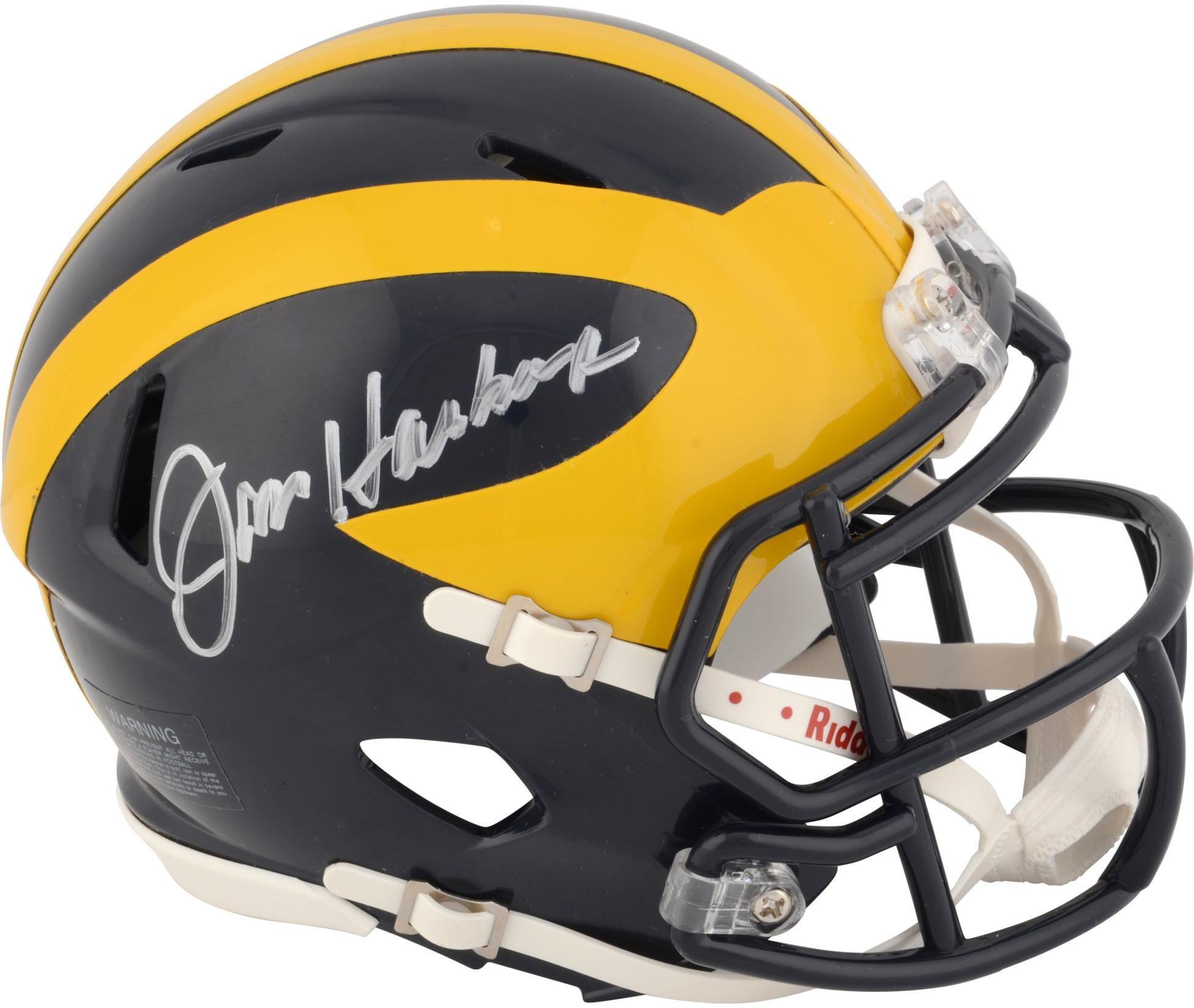 Jim Harbaugh Michigan Wolverines Autographed Riddell Mini Helmet Fanatics Authentic Certified Autographed College Mini Helmets