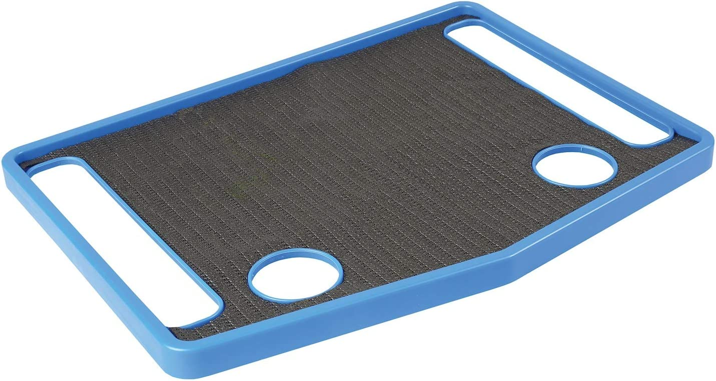 """Support Plus Walker Tray Table Accessory with Non-Slip Mat/Cup Holders (21""""x16"""") - Royal Blue"""