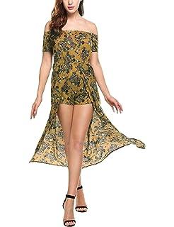 ca36a9a6422 Zeagoo Women s Floral Print Off The Shoulder Summer Split Maxi Romper Dress