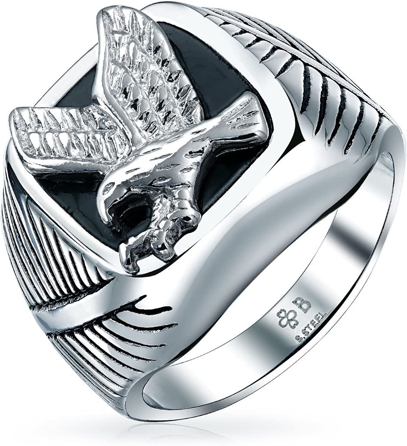 Mens Statement Black Patriotic USA Flying American Bald Eagle Square Signet Ring for Men Silver Tone Stainless Steel