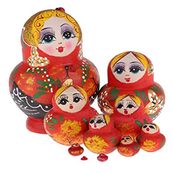 10 x excellent workmanship Wooden Wishing Russian Nesting Wooden Doll-Girl