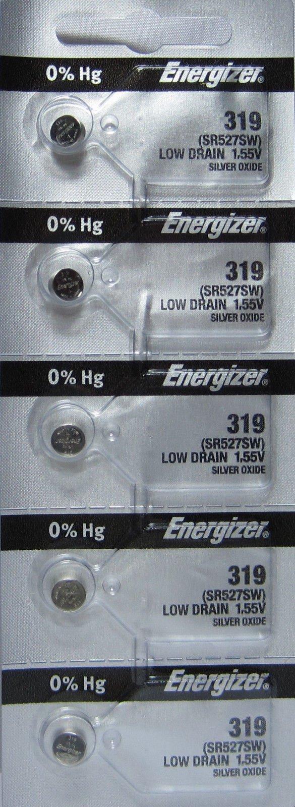 Energizer Batteries 319 (SR527SW) Silver Oxide Watch Battery. On Tear Strip (Pack of 5)