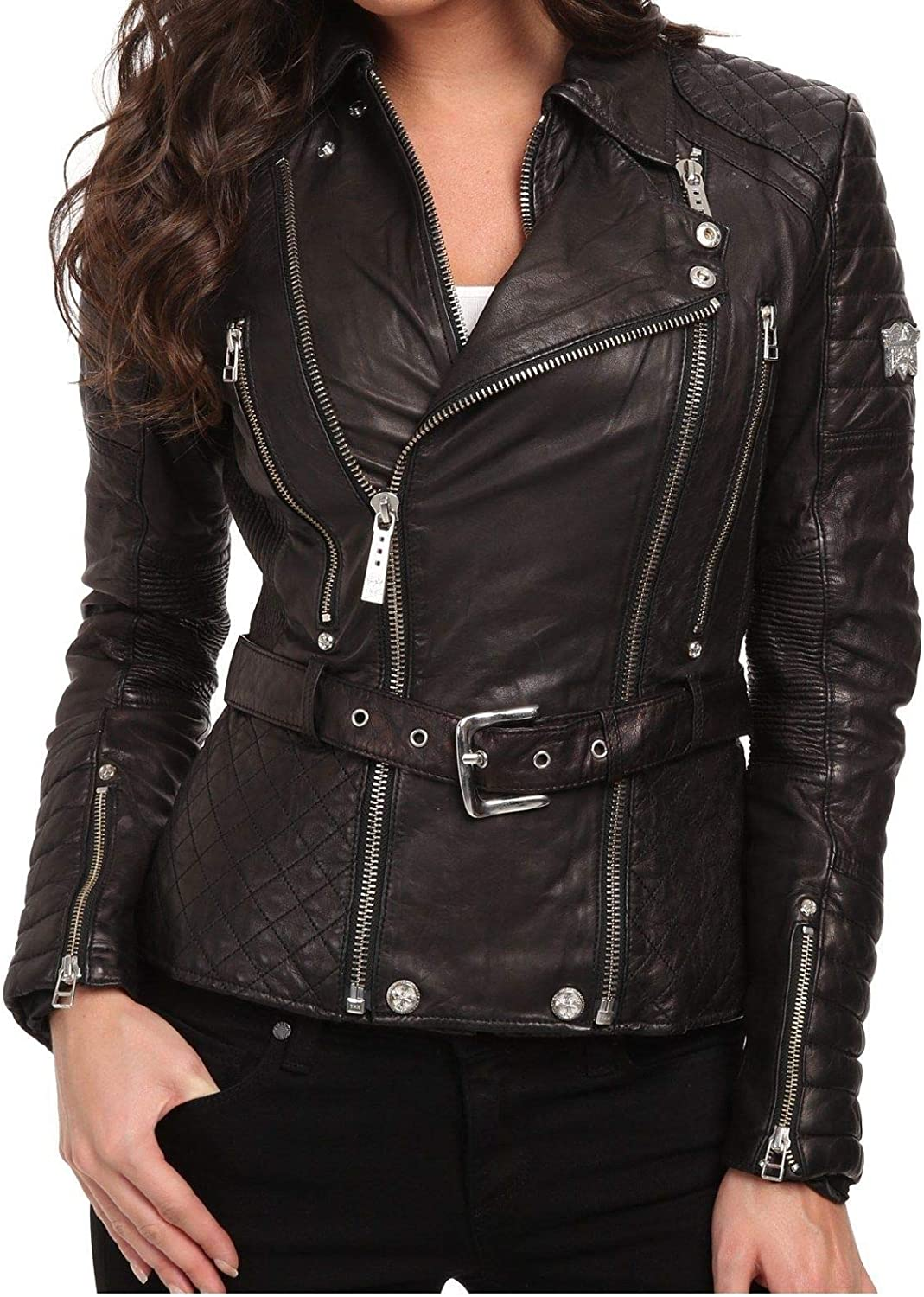 Le Craze Womens Genuine Lambskin Leather Black Slim Fit Designer Leather Jacket #LC69