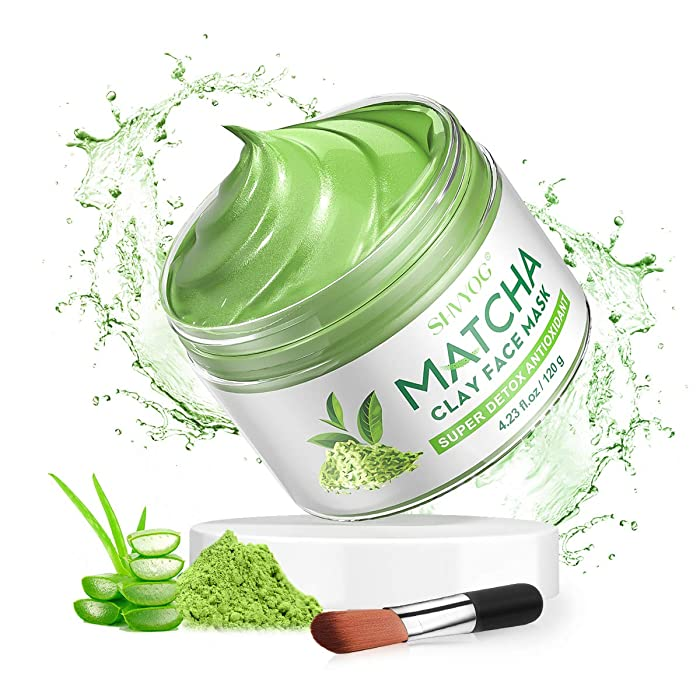 SHVYOG Green Tea Matcha Facial Clay Mask, Skin Care Antioxidant Detox Face Mask with Volcanic Mud, Deep Cleansing & Moisturizing & Hydrating Face Mud Mask for Acne, Blackheads, Pores, Wrinkles