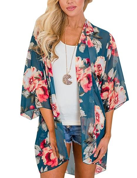 Blusa suelta de gasa para Las mujeres con estilo imprimieron, blusa solar de la playa