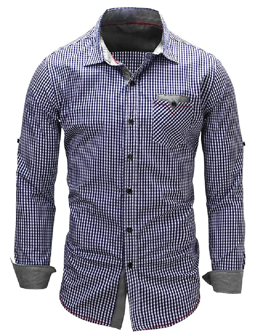 Losait Mens Twill Large Size Panelled Long Sleeve Business Shirts