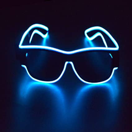 El Wire Neon LED Festival Light Up Glow Sunglasses Glasses Rave Club Party Cute