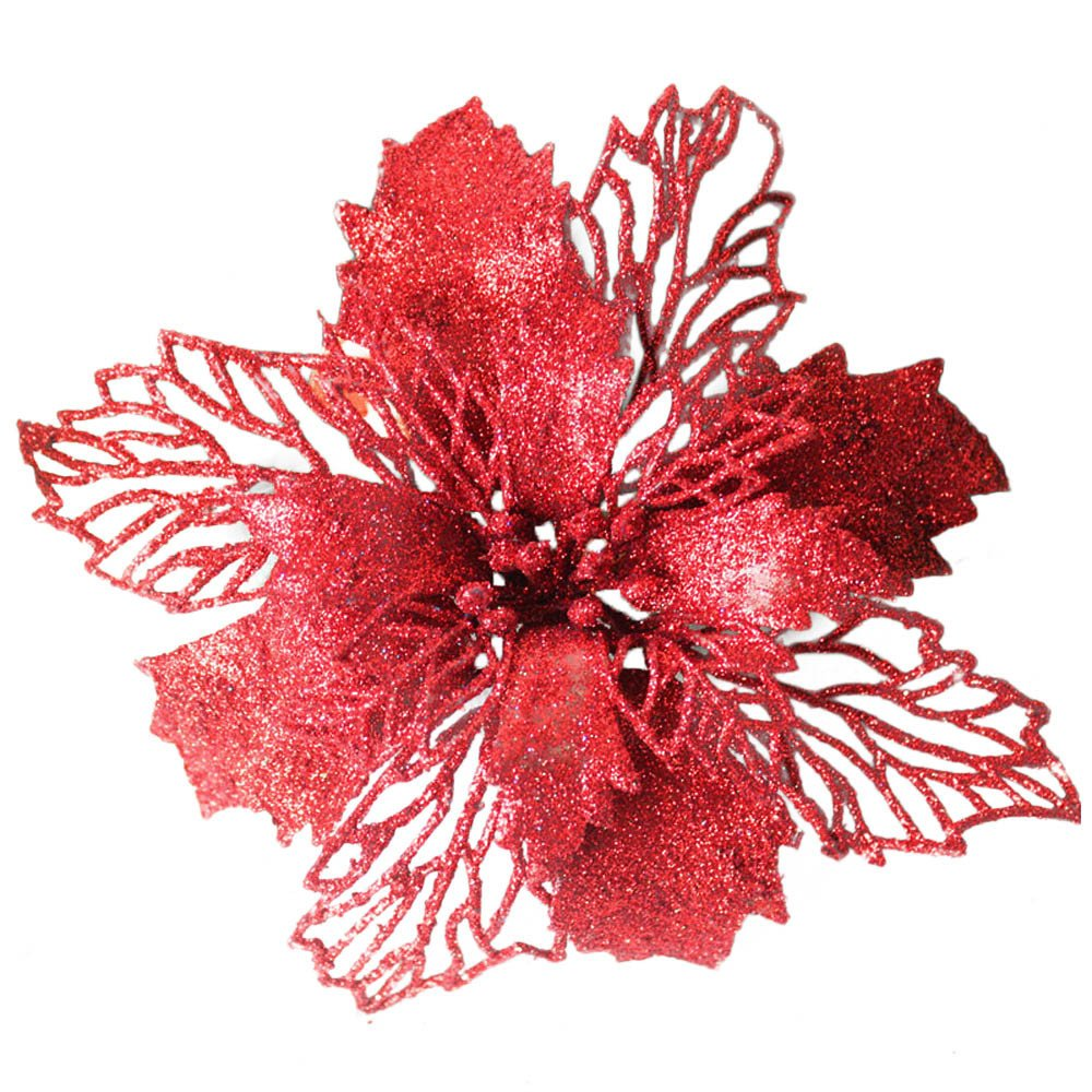 Leedford Romantic Rosette Hanging Charm Party Decoration Christmas Tree Ornament Flower (Red)