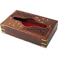 Hecho a mano de madera caja para pañuelos