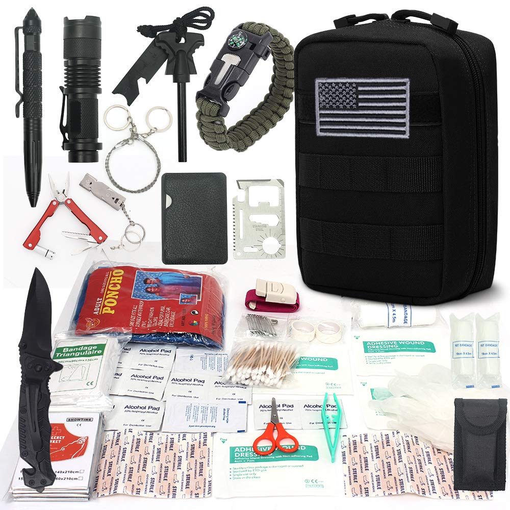 Cool Sen Survival First Aid Kit Emergency Survival Kit Upgraded 2-1 First Aid Supply Compatible Outdoor Survival Gear Tactical Gear Molle Trauma Bag for Camping Hunting Hiking Home Outdoor (Black)