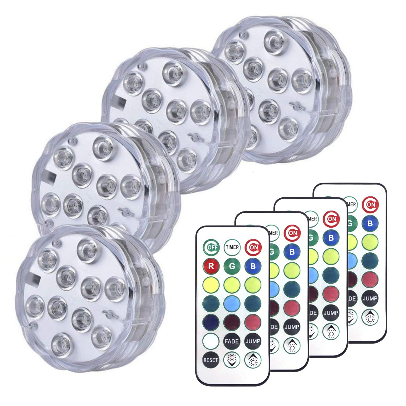 Sunyel Color Changing Submersible LED Lights 13 Colors 2 Modes Battery Light with Remote and Timer 4 Pack