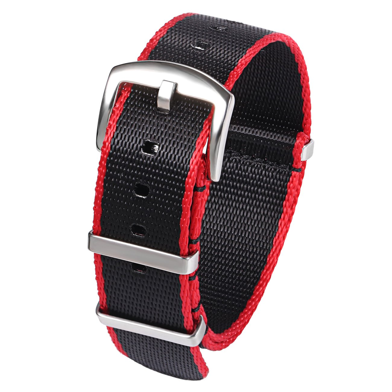 PBCODE Seat Belt Nylon NATO Strap Heavy Duty Military G10 Watch Band Replacement Watch Straps 22mm Black Red