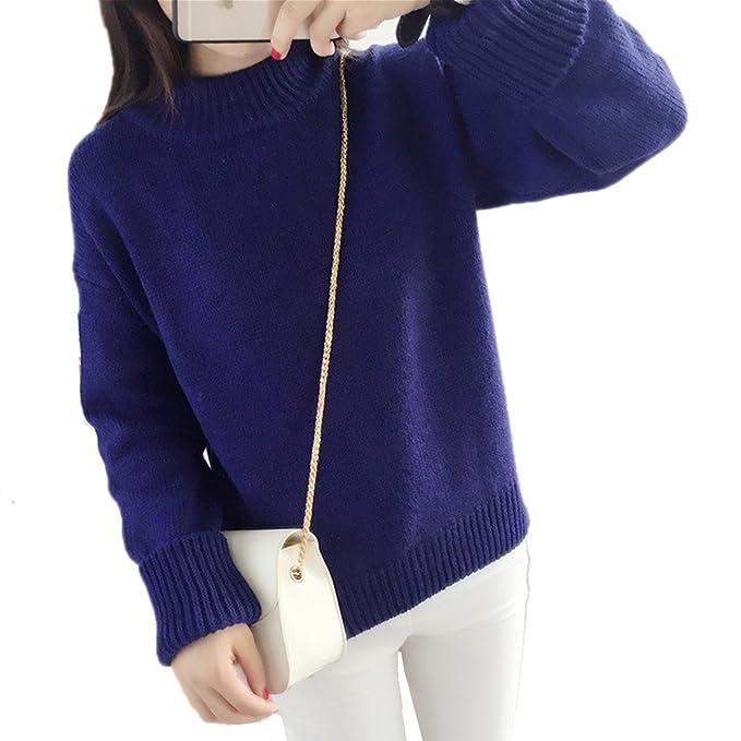 e2a054f7a7861b HEYFAIR Women Thick Knitted Plain Pullover Sweater Jumper (Blue) at ...