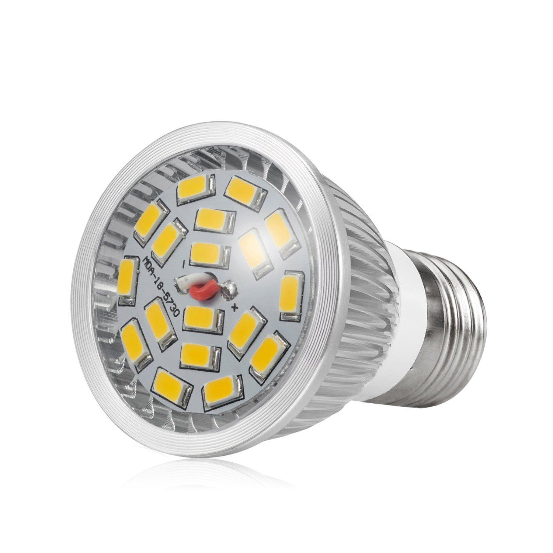 Jpodream 7W 18 x 5730 SMD LED Light Bulbs 6 Pack 550LM 70W Halogen Bulbs Equivalent AC85-265V E27 LED Bulbs Warm White 3000K 140 Degrees Bean Angle