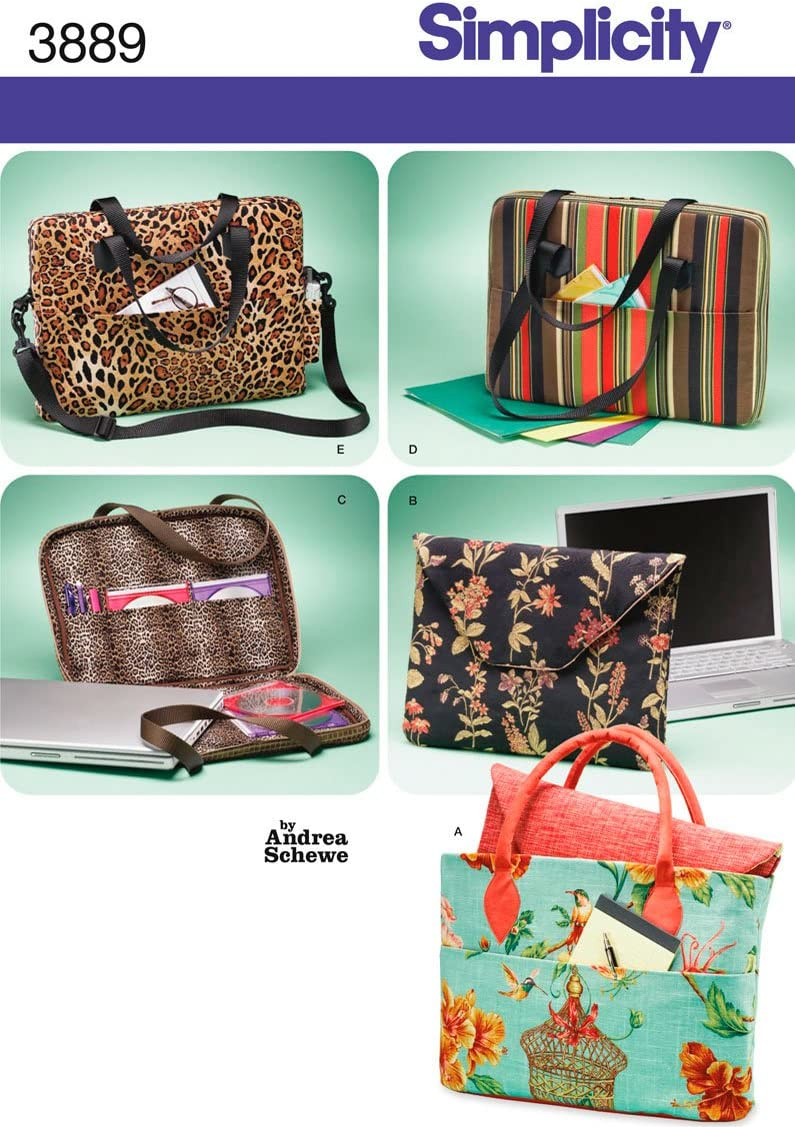 Simplicity Andrea Schewe Pattern 3889 Laptop Computer Bags with Variations