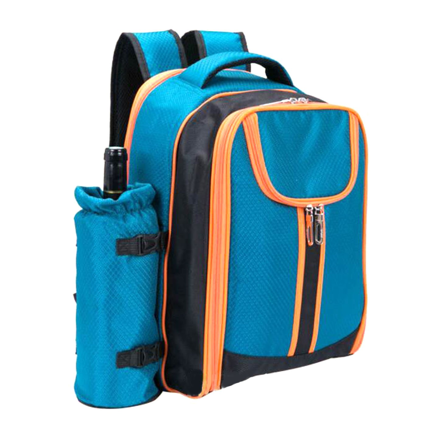 S SKSTYLE 4 Person Picnic Backpack with Solid Stainless Steel Utensils, Oversized Water Resistant Fleece Blanket, Cooler Compartment, Detachable Wine Bottle Holder in a Modern Designed Backpack