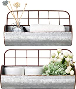 Dahey Farmhouse Galvanized Wall Storage Decor Bathroom Organizer Basket Bin Rustic Metal Wall Planter Wire Back Hanging Shelves for Bedroom Living Room Kitchen Apartment Entryway Laundry, Set of 2