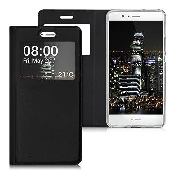 kwmobile Funda compatible con Huawei P9 Lite - Carcasa de [cuero sintético] con [ventana] - Case en [negro]