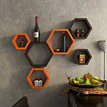 Furnish44 Wooden Floating Hexagon Shape Storage Wall Shelves Display Rack for Home Decor (Orange & Brown) - Set of 6