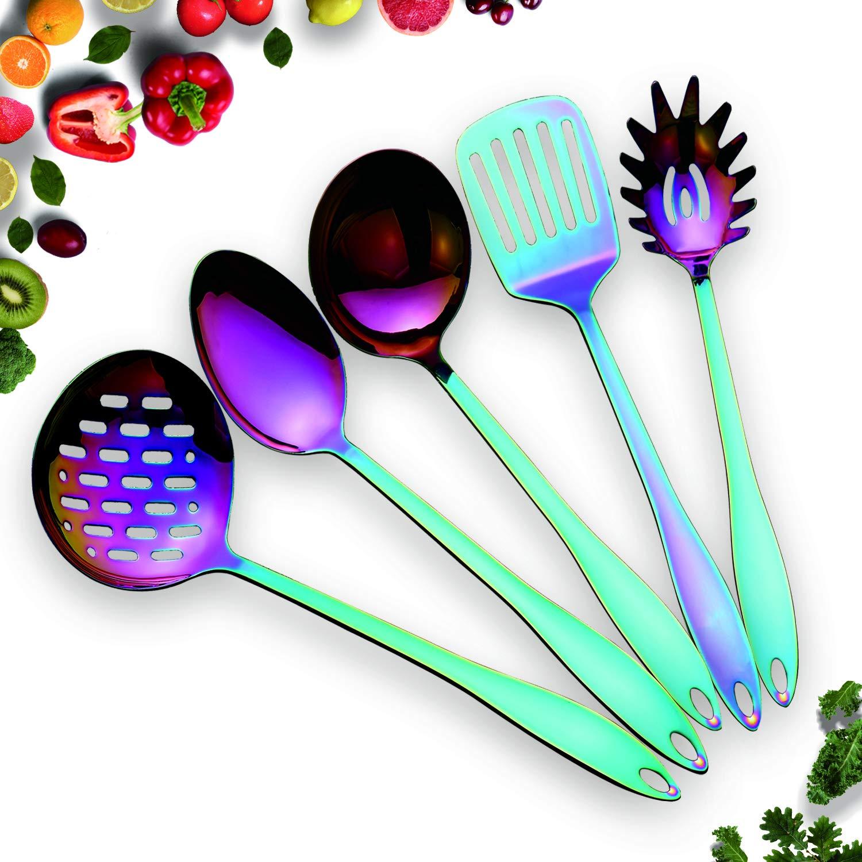 HOMQUEN Stainless Steel Kitchen Utensil Set - 5 Cooking Utensils, Rainbow Color Nonstick Kitchen Utensils Set, Colorful Titanium Plated Set Kitchen Tools Gadgets